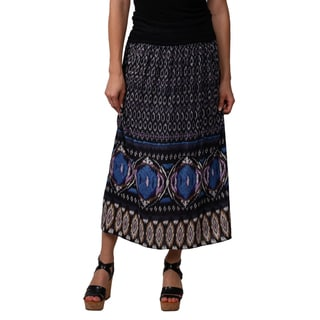 Journee Collection Juniors Purple Banded Waist Printed Maxi Skirt