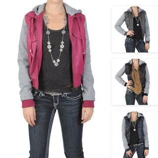 Journee Collection Juniors PU Leather Knit-sleeve Varsity Jacket