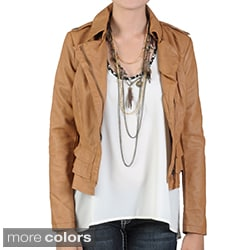 Journee Collection Juniors Ruffle Detail Faux Leather Jacket