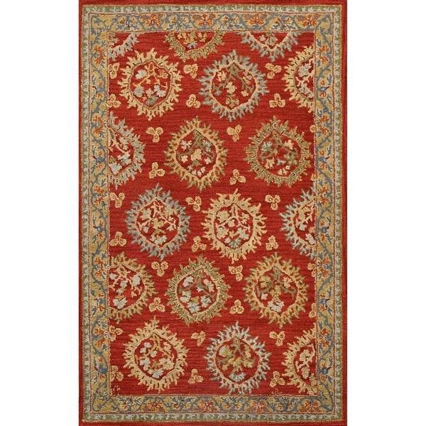Handmade Medallion Red Wool Rug (5x8)