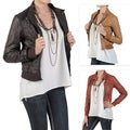 Journee Collection Juniors Crinkled Zippered PVC Leather Jacket