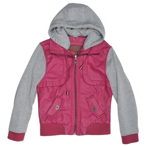 Journee Collection Kid's PU Leather Knit-sleeve Varsity Jacket