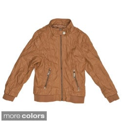 Journee Collection Kid's Crinkled Zippered Faux Leather Jacket