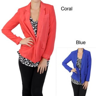 Journee Collection Juniors Long-sleeve Open Front Blazer