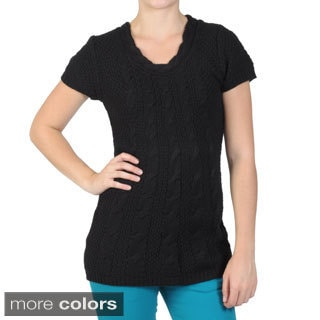 Journee Collection Juniors Short-sleeve Cable-Knit Acrylic Tunic Sweater