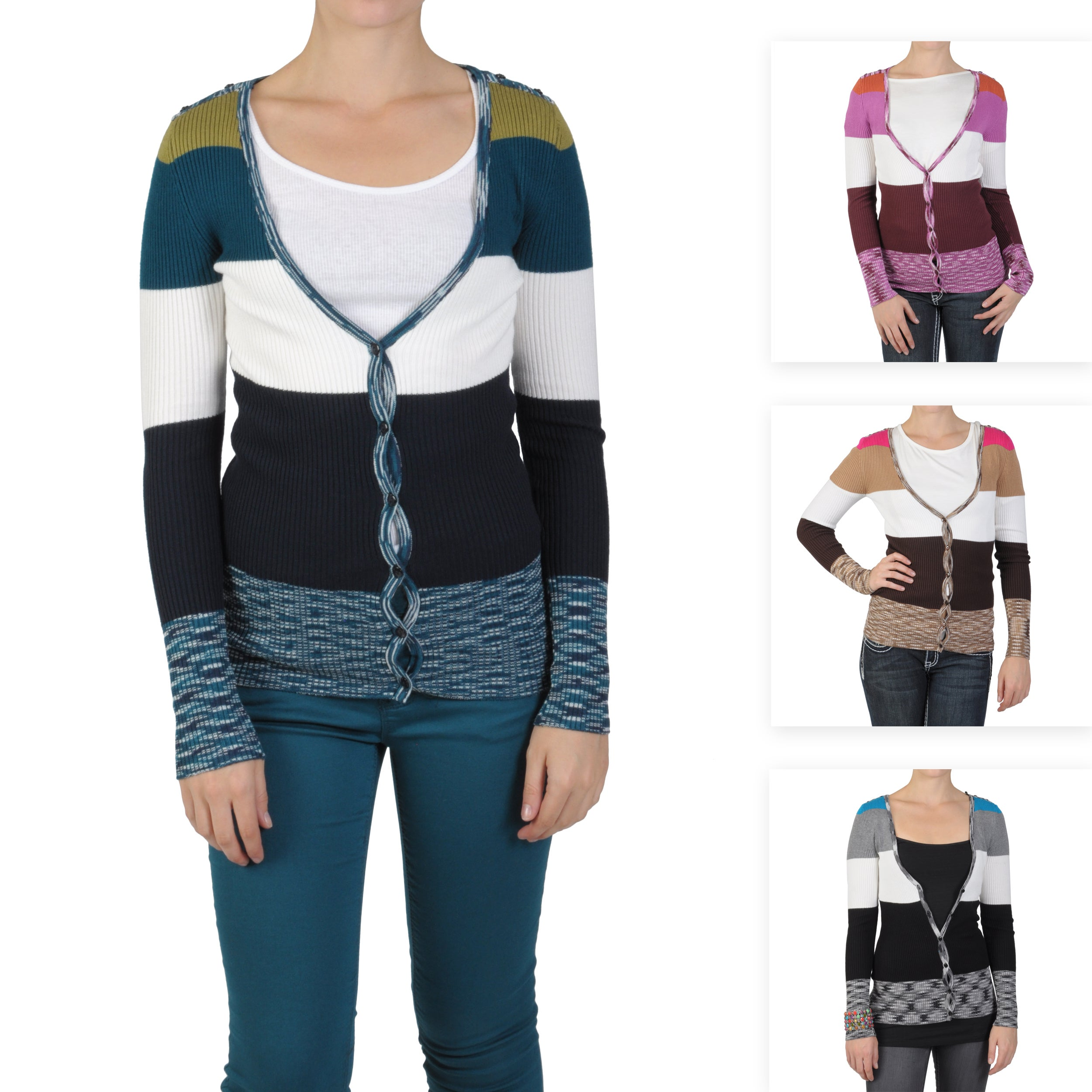 Journee Collection Juniors Striped V-neck Button-up Cardigan