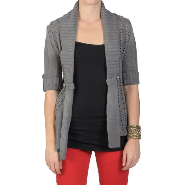 Journee Collection Juniors Half-sleeve Open Front Cardigan