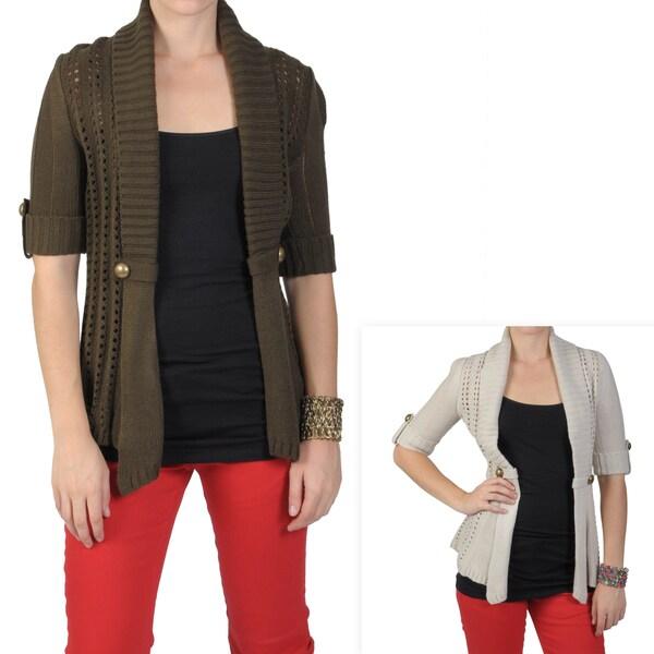 Journee Collection Junior's Half-sleeve Open Front Cardigan
