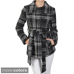 Journee Collection Juniors Tweed Plaid Belted Button-up Coat