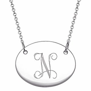 Sterling Silver Oval Tag Initial Necklace