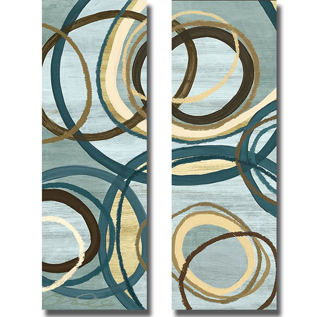 Jeni Lee 'Tuesday Blue Panel I and II' 2-piece Canvas Art Set
