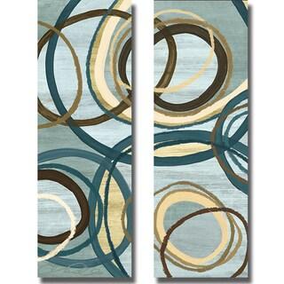 Jeni Lee 'Tuesday Blue Panel I and II' 2-piece Canvas Art Set