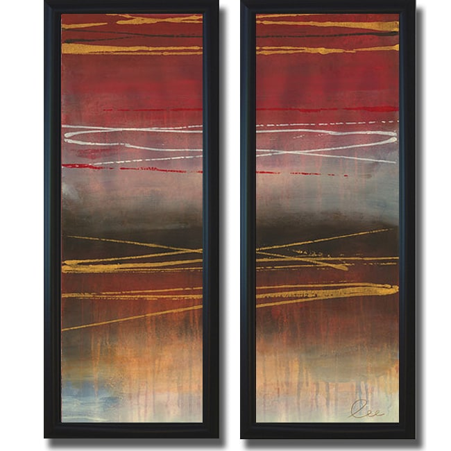 Jeni Lee 'Gold Rush Panel I and II' Framed 2-piece Canvas Art Set