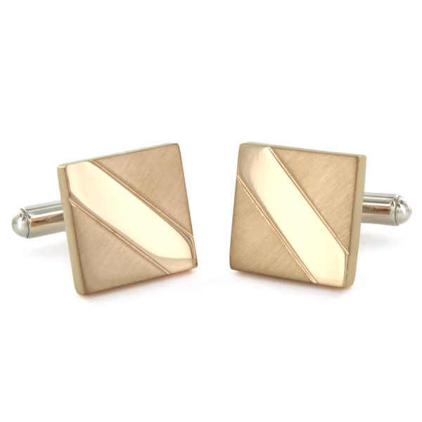 Stainless Steel Rose Gold Plated Rectangle Cuff Links