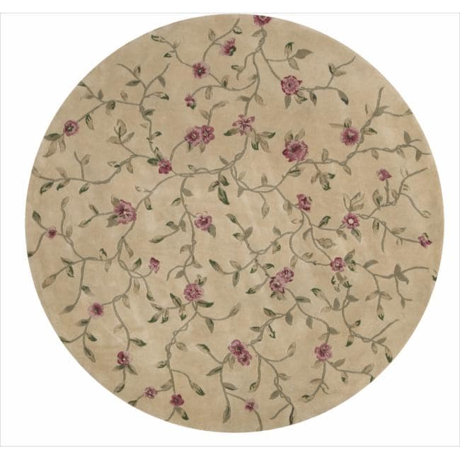 Nourison Hand-tufted Julian Floral Light Gold Rug (8' Round)