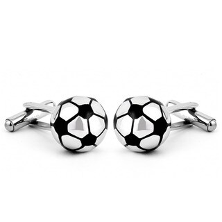 West Coast Jewelry Stainless Steel Round Soccer Ball Cuff Links