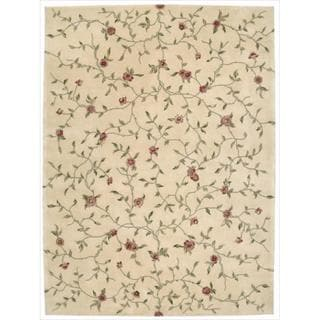 Nourison Hand-tufted Julian Floral Light Gold Rug (3'6 x 5'6)
