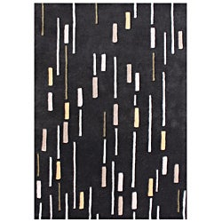 Alliyah Hand Made Black Made In New Zealand Blend Wool Rug 8x10