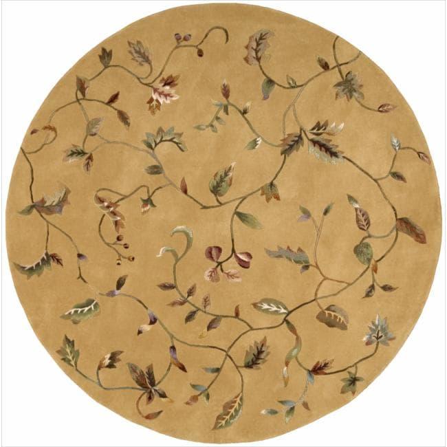Nourison Hand-tufted Julian Floral Gold Rug (6' Round)