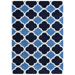 Alliyah Hand-made Tufted Azure Blue Wool Rug (6'x9')