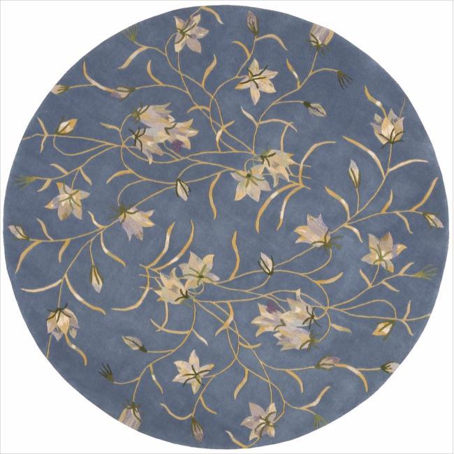 Nourison Hand-tufted Julian Floral Light Blue Wool Rug (6' Round)