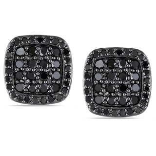 Miadora Sterling Silver 1ct TDW Black Diamond Stud Earrings