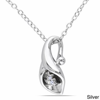 Miadora Sterling Silver Calla Lily Diamond Accent Necklace