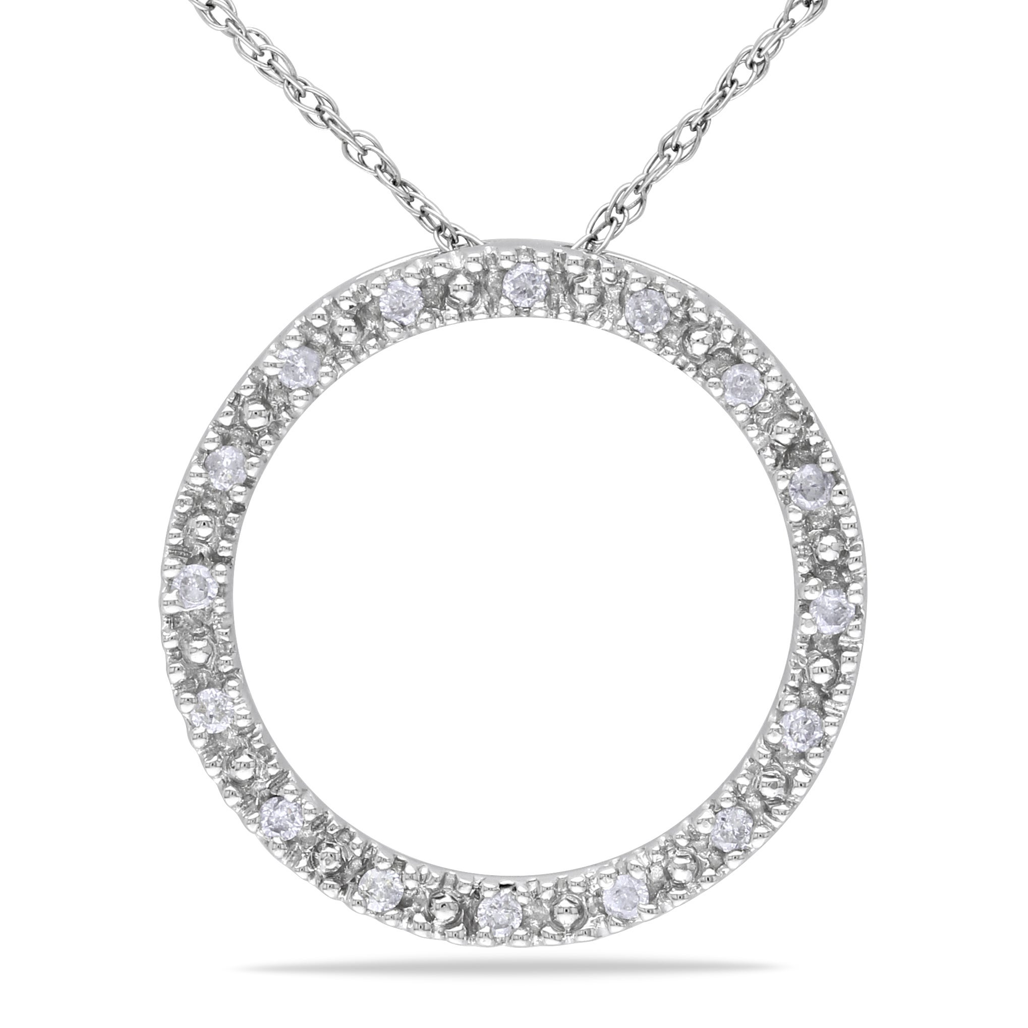 Miadora 10k White Gold 1/10ct TDW Diamond Circle Necklace (G-H, I1-I2)