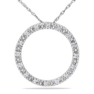 Miadora 10k White Gold 1/10ct TDW Diamond Circle Necklace (G-H, I1-I2)
