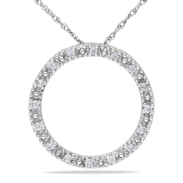 Haylee Jewels 10k White Gold 1/10ct TDW Diamond Circle Necklace (G-H, I1-I2)