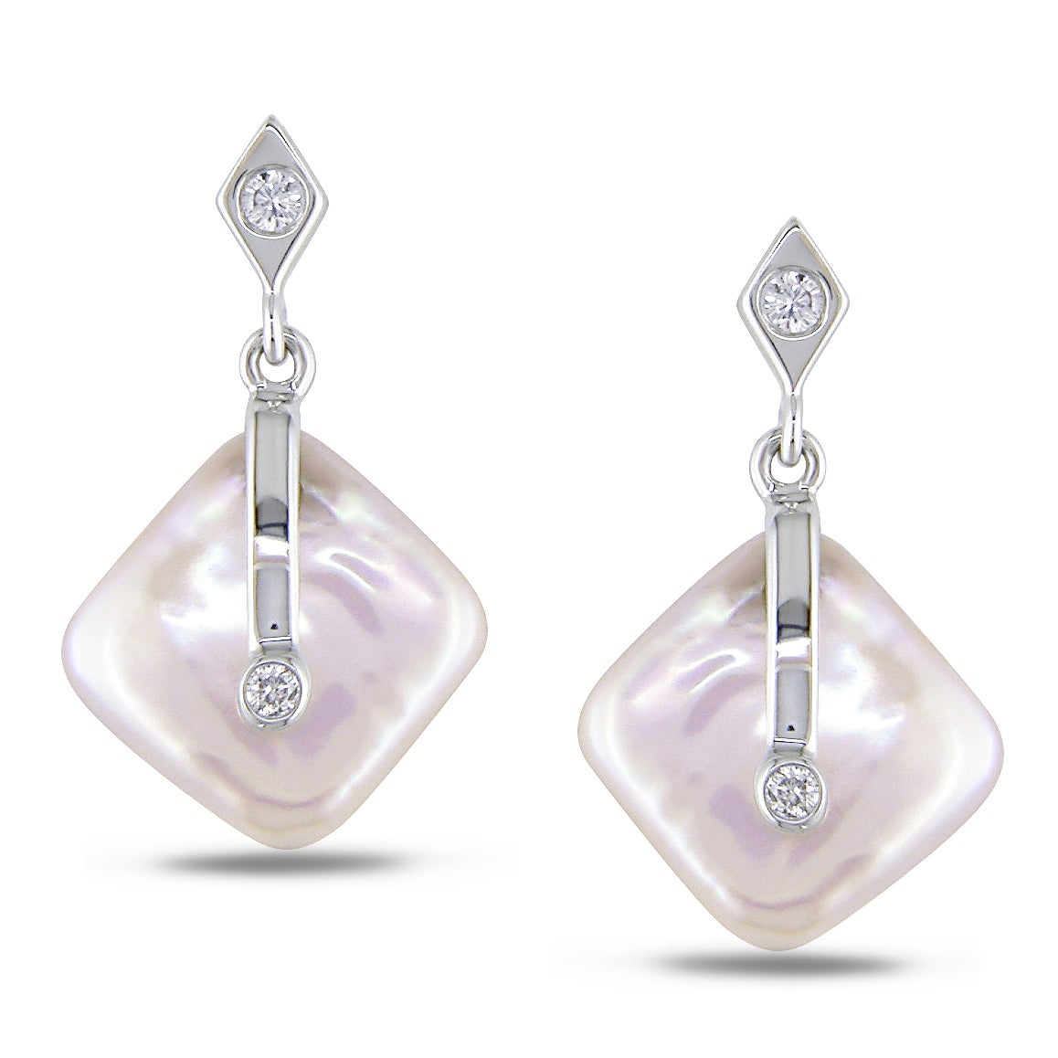 Miadora 14k White Gold Pink Pearl and Diamond Earrings (I-J, I2-I3)