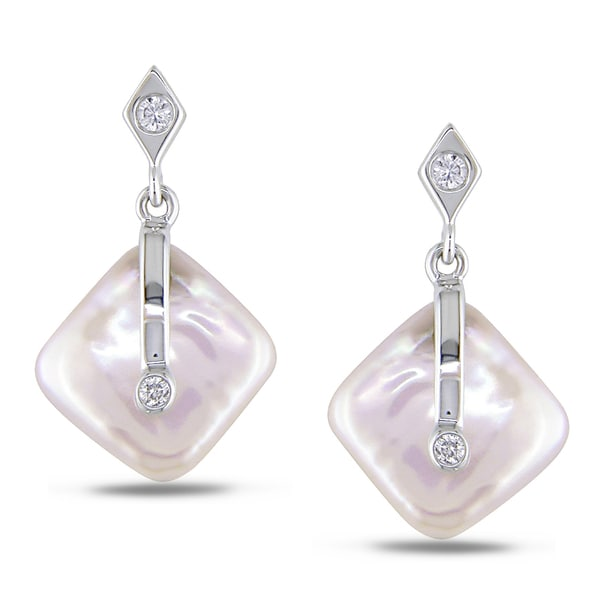 Miadora 14k White Gold Pink Cultured Freshwater Pearl and Diamond Earrings (I-J, I2-I3)