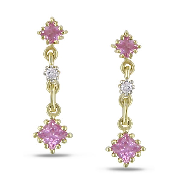 Miadora 14k Yellow Gold Pink Sapphire and Diamond Accent Earrings (H-I, I2-I3)