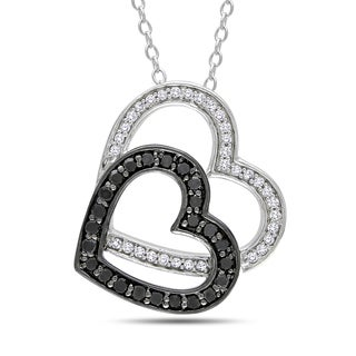Haylee Jewels Sterling Silver 1/3ct TDW Black and White Diamond Necklace (H-I, I2-I3)