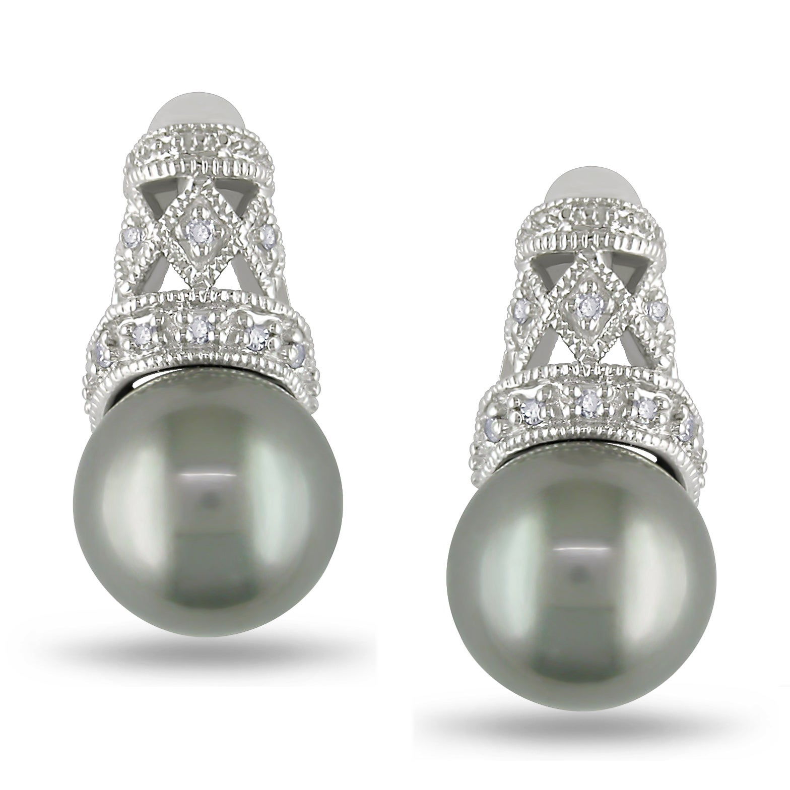 Miadora 10k White Gold Tahitian Pearl and Diamond Earrings (H-I, I2-I3)