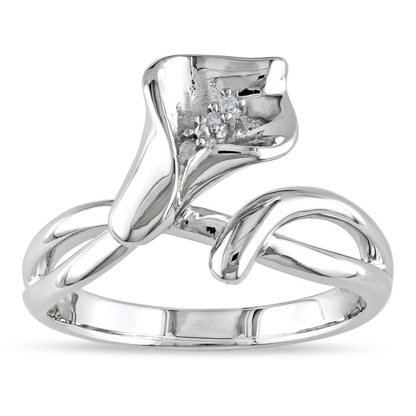 Haylee Jewels Sterling Silver Diamond Calla Lily Flower Ring (G-H, I1-I2)