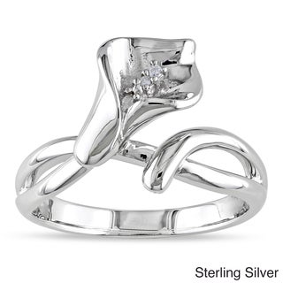 M by Miadora Sterling Silver Diamond Calla Lily Flower Ring (G-H, I1-I2) with Bonus Earrings