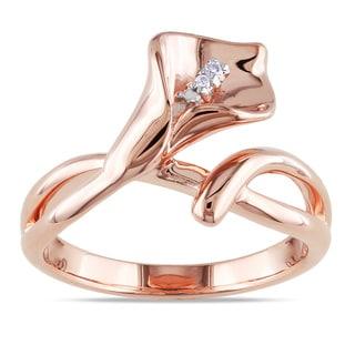Miadora Sterling Silver Diamond Accent Calla Lily Flower Split Shank Ring
