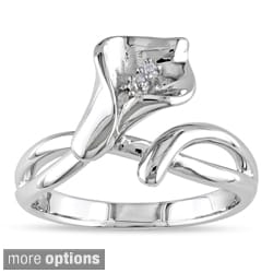 Miadora Sterling Silver Diamond Calla Lily Flower Ring (G-H, I1-I2)