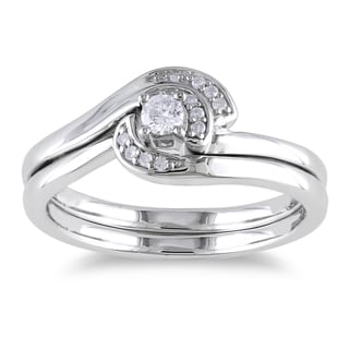 Haylee Jewels Sterling Silver 1/6ct TDW Diamond Ring Set (H-I, I2-I3)