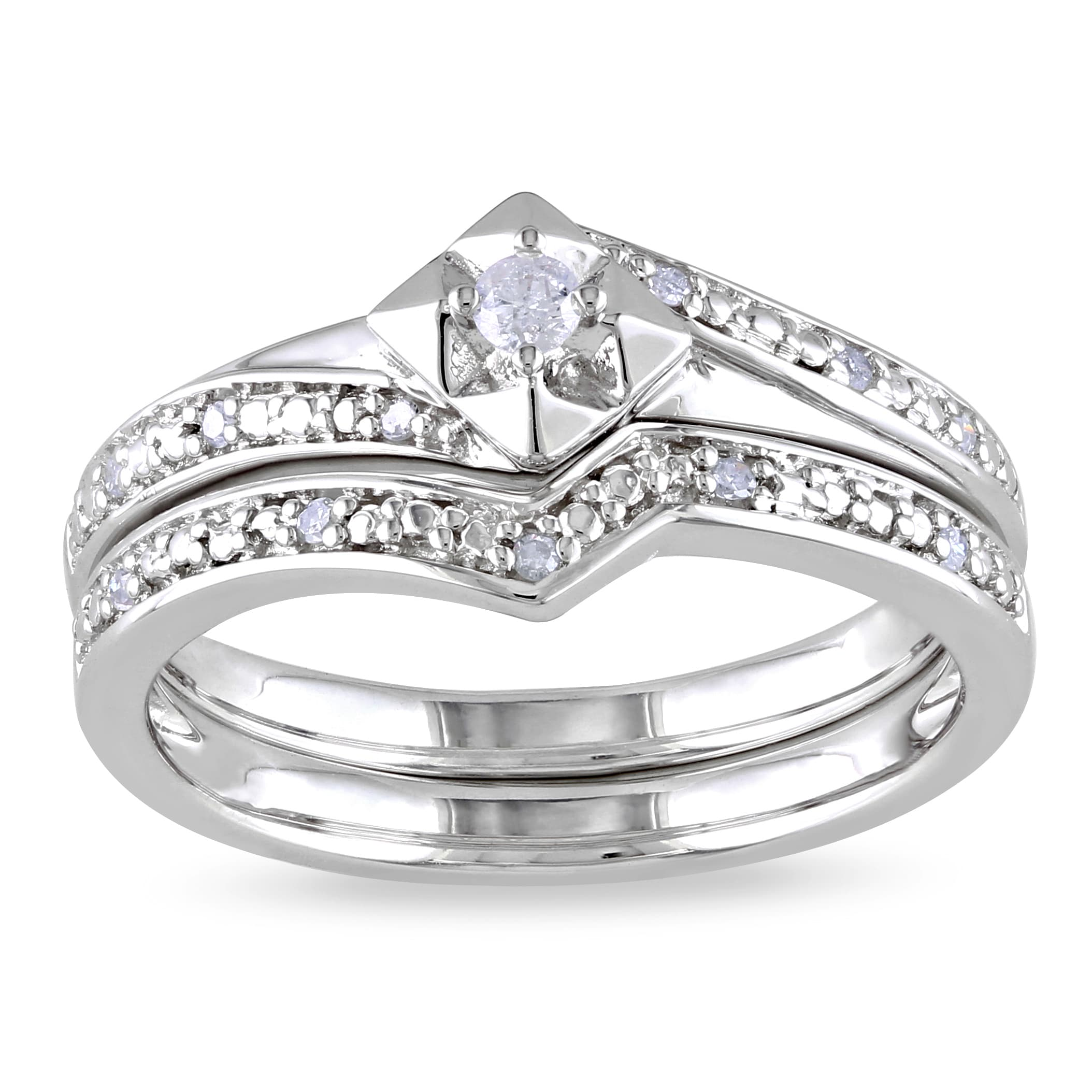 Miadora Sterling Silver 1/10ct TDW Diamond Bridal Set (H-I, I2-I3)