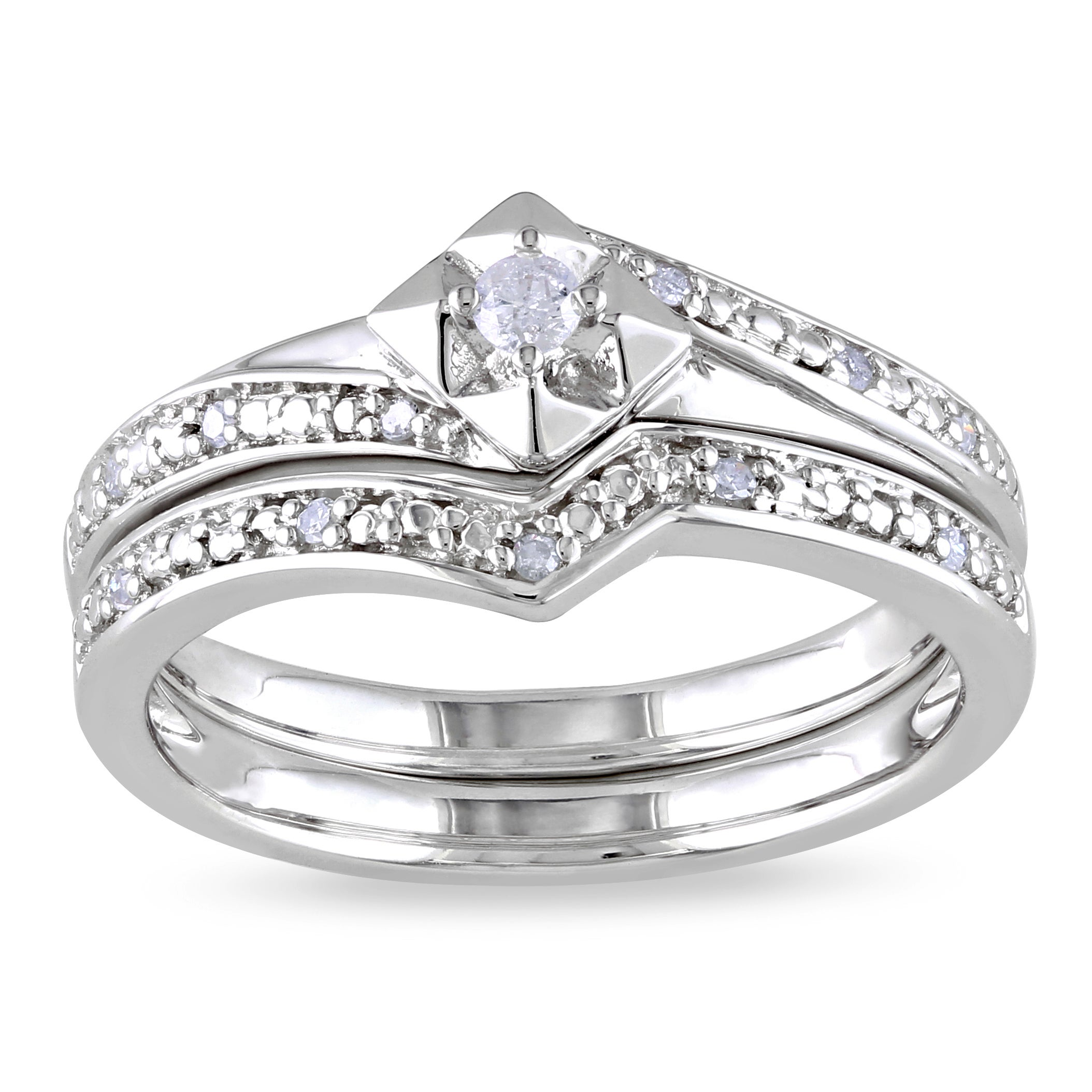 Miadora Sterling Silver 1/10ct TDW Diamond Ring Set (H-I, I2-I3)