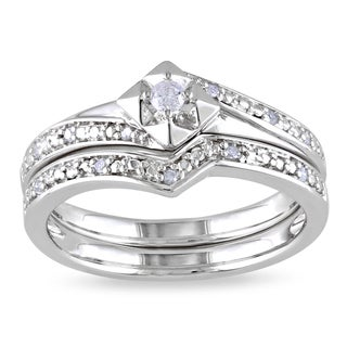 M by Miadora Sterling Silver 1/10ct TDW Diamond Bridal Set (H-I, I2-I3)