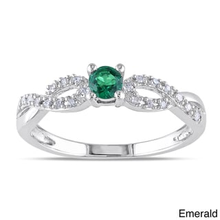 Miadora Silver Created Gemstone and 1/10ct TDW Diamond Ring (H-I, I2-I3)