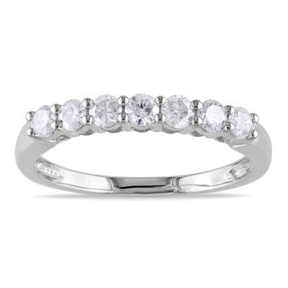 Miadora 14k White Gold 1/2ct TDW IGL-certified Diamond Semi Eternity Ring (G-H, SI1-SI2)