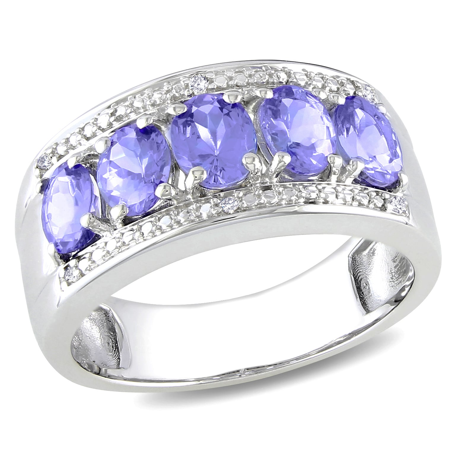 Miadora Sterling Silver Tanzanite and Diamond Accent Ring (H-I, I3)