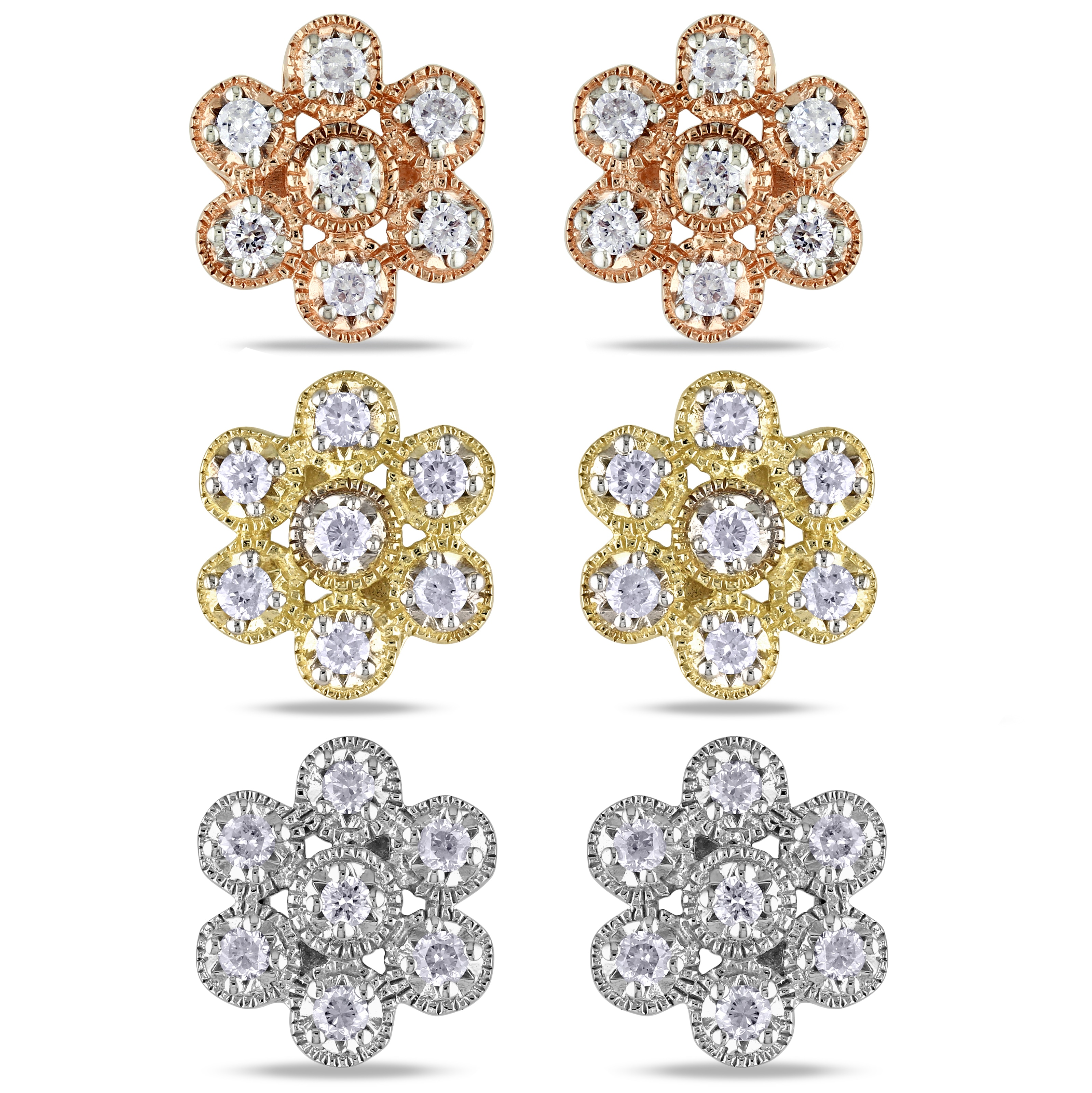 Miadora 10k Gold 1/4ct TDW Diamond Flower Earrings (G-H, I1-I2)