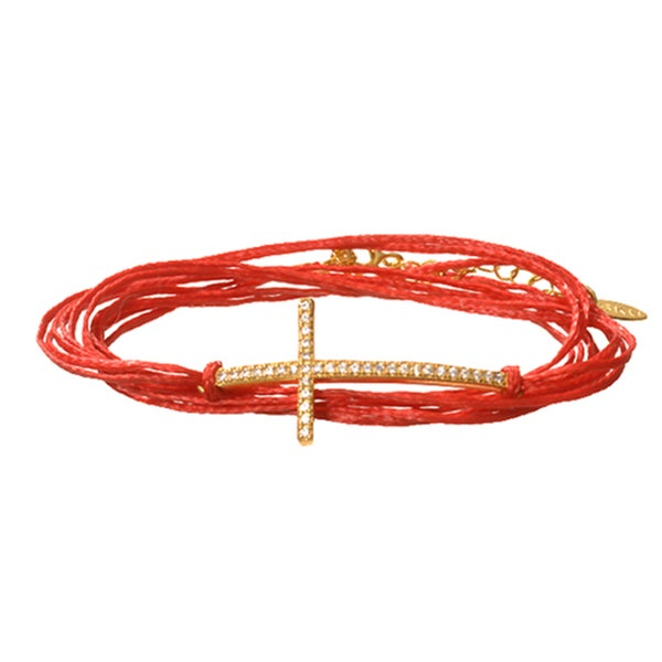 Beverly Madison 14k Gold over Silver and Red Cord CZ Sideways Cross Bracelet