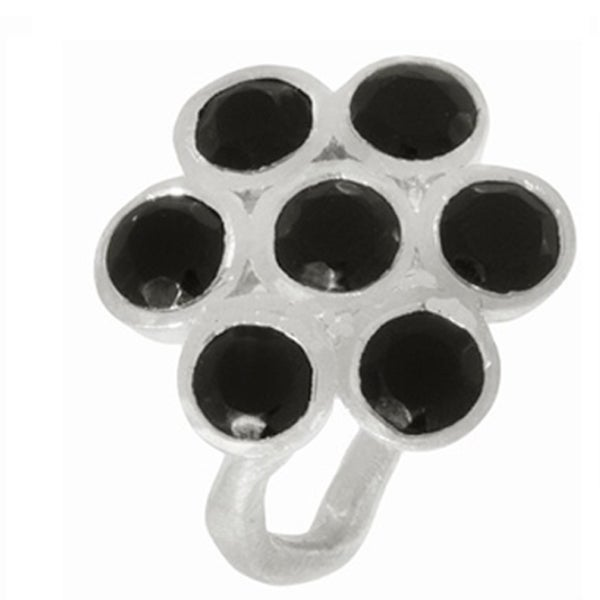 Beverly Madison Sterling Silver Black Onyx Flower Ring