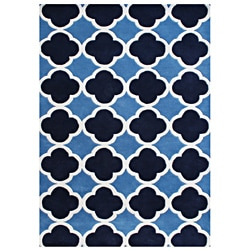 Alliyah Hand-made Tufted Blue Wool Rug (8'x10')